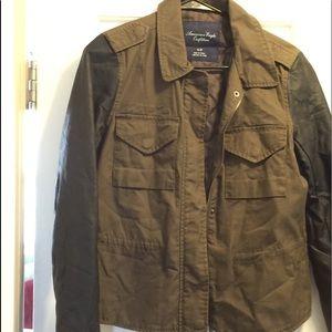 American Eagle, leather sleeve jacket